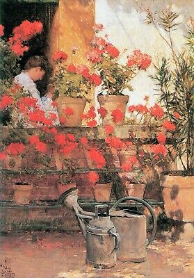 Red Geraniums by Childe Hassam Giclee Fine ArtPrint Reproduction on Canvas