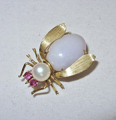 "1.2"" Vintage Chinese 14K Yellow Gold White JADEITE, Pearl & Ruby BEE Brooch"