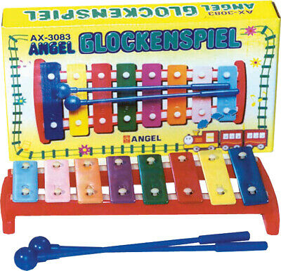 ANGEL Diatonic Glockenspiel *NEW* 8 coloured metal bars, casing, with beaters