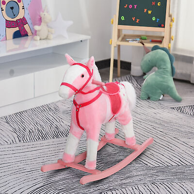 Qaba Children's Classic Vintage Light Pink Girl's Rocking Horse with Sound