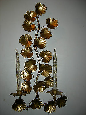 Vintage Gold Gilt Metal Geranium Leaves Candle Wall Sconce Italy