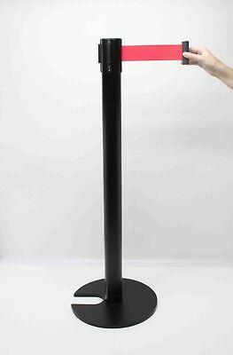 Crowd Control Stanchion Queue Barrier Post Black Strap 10' Retract Nesting Base