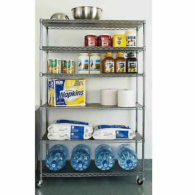 "Commercial Steel Rolling Storage Shelving Rack Metal Wire Shelf 3"" Caster Chrome"