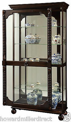 Howard Miller 680 541 Canyon   Heavily Distressed Tobacco Finish Curio  Cabinet