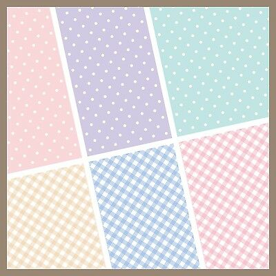 exclusive 48/ 24pc pastel polka dot checker scrapbook paper 6 design