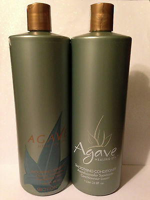 BIO IONIC AGAVE SMOOTHING SHAMPOO & CONDITIONER 33.8oz LITER DUO SET
