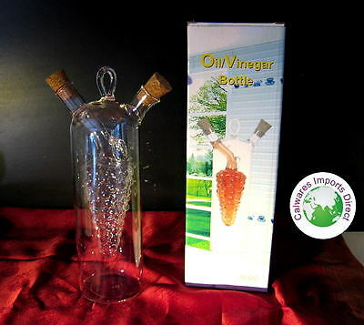 NEW OIL & VINEGAR Glass Bottles with Grape inside for Balsamic