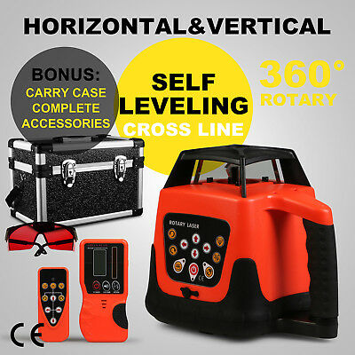Rotary Laser Level Kit Cross Line Rotating Auto Self leveling Red Beam 150m