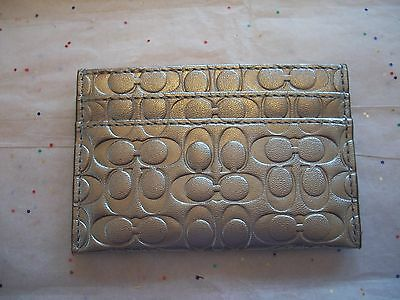 """Coach  62544 Embossed """"C"""" Silver Liquid Gloss Credit Card Case  Nwt Authentic"""