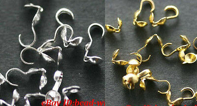 100pcs Silver/Golden Tone Metal Crimp End Beads Finding for Necklace 9*1.5mm