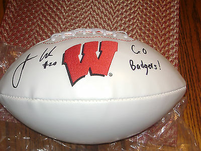 James White Wisconsin Badgers Signed Logo Football New England Patriots NFL