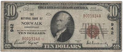 $10 Nat'l Currency, 1929 Ty1, Ch942, National Bank of Norwalk, Connecticut