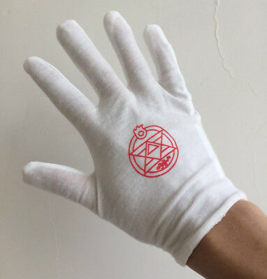 Fullmetal Alchemist Colonel Roy Mustang Edward Elric Cosplay Gloves White