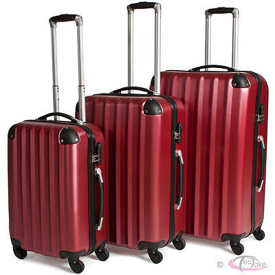 Set of 3 piece travel luggage 4 wheels trolleys suitcase bag hard shell wine-red