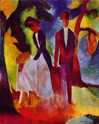 Folks at the blue sea by August Macke Giclee Fine Art Print Repro on Canvas