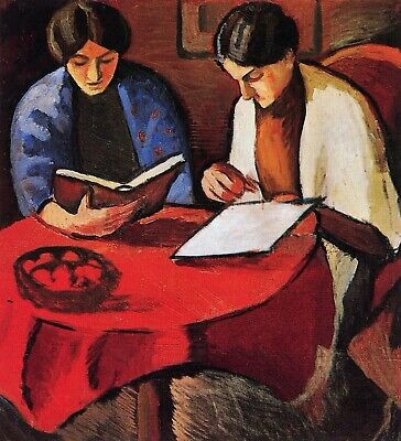 Two women at the table by August Macke Giclee Fine Art Print Repro on Canvas
