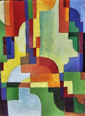 Colored forms (I) by August Macke Giclee Fine Art Print Repro on Canvas