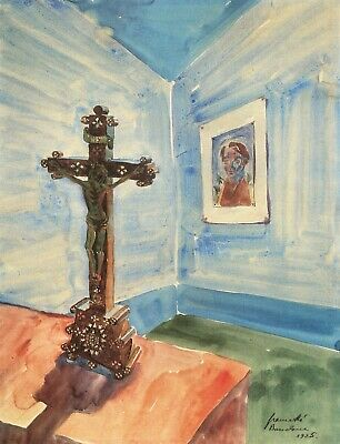 Crucifix in the room by Walter Gramatte Giclee Fine Art Print Repro on Canvas