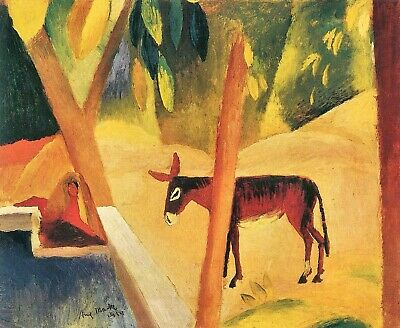 Donkeys in the palms by August Macke Giclee Fine Art Print Repro on Canvas