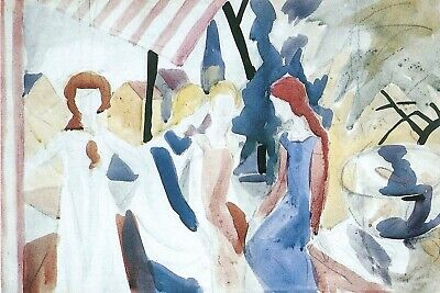 Four girls on Altane by August Macke Giclee Fine ArtPrint Repro on Canvas