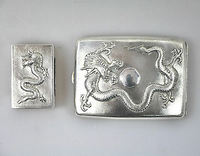 2 Antique Solid Silver China Chinese Qing Dragon Card Cigarette Case Box 1900