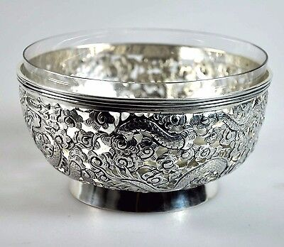 Antique Chinese Export Solid Silver Dragon Bowl China Tuck Chang Qing 1900