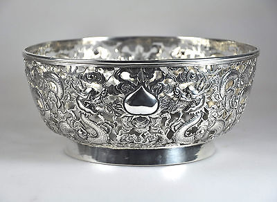 539 gr ANTIQUE CHINESE EXPORT SOLID SILVER DRAGON BOWL CHINA 1900 KC SHANGHAI