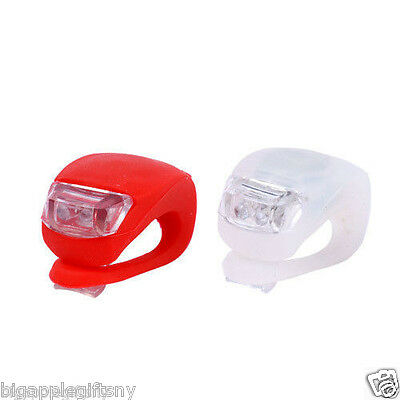 Ultra Bright Waterproof SILICON LED BIKE LIGHT SET 2LED Front +Rear Safety Light