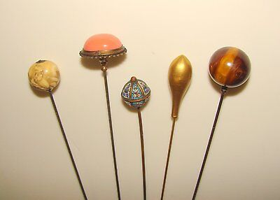 Antique Hat Pins 14K Yellow Gold Tigers Eye Mini Mosaic Lot Of 5 Coral Stick