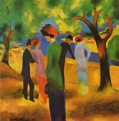 Lady in a green jacket by August Macke Giclee Fine ArtPrint Repro on Canvas