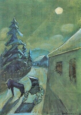 Moonscape with horse by Walter Gramatte Giclee Fine ArtPrint Repro on Canvas