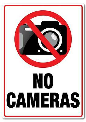 No Cameras sticker quality water & fade proof  large 290mm x 190mm