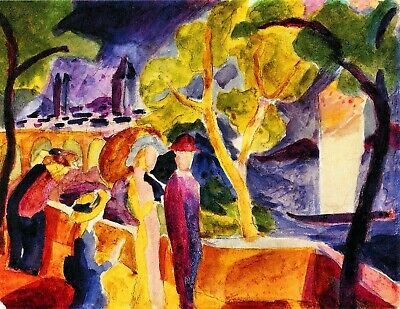 Walking at the lake by August Macke Giclee Fine Art Print Repro on Canvas