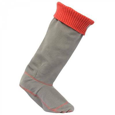 Regatta ladies womens warm fleece knitted cuff wellington welly liner socks red