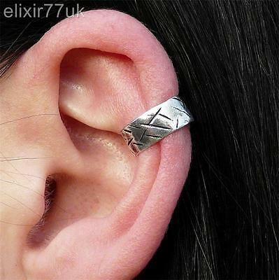Silver Celtic Steam Punk Ear Cuff Helix Cartilage Clip On Earring Gothic Gift Uk