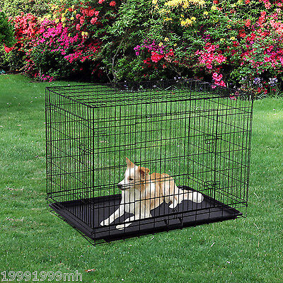 """PawHut Dog Crate Cage Kennel 42"""" W/2 Doors Tray Folding Steel Wire Playpen Black"""