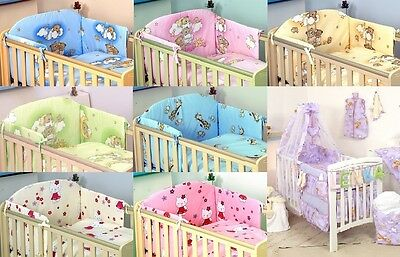 Bedding Set Cot & Cot Bed 3 , 4, 5,7 Pcs Pillow, Duvet,bumper Canopy /holder