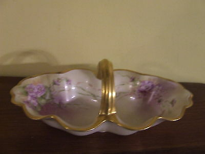 FLORAL & GOLD Moritz Zdekauer Austria Bone China Porcelain BASKET Signed