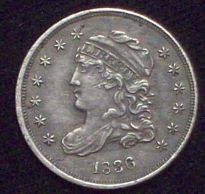 1836 HALF DIME SILVER - AU Detail Awesome Tone Authentic 5c *PRICED TO SELL* HD