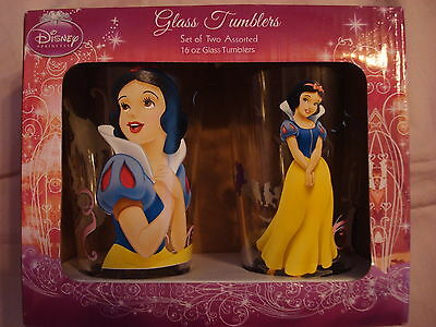 Disney Princess Glasses - Snow White 16oz Glass Tumblers NEW