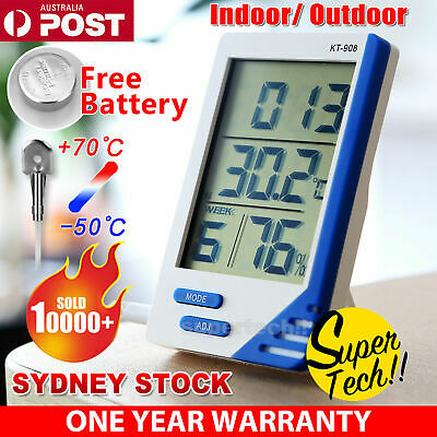 Indoor/ Outdoor Home Office LCD Digital Temperature Humidity Meter Thermometer