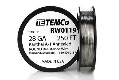 TEMCo Kanthal A1 wire 28 Gauge 250 Ft Resistance AWG A-1 ga