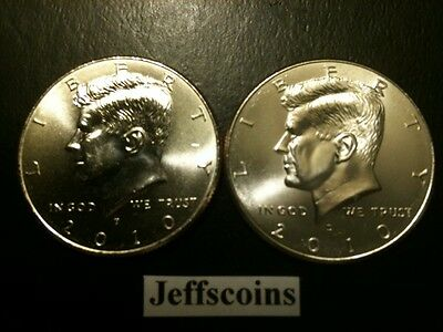 2010 P&D Kennedy Half Dollar Set GEM BU From MINT ROLL Clad No Silver 50 Cent