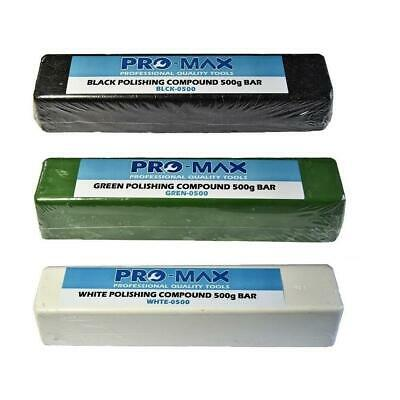 Pro-Max Steel & Stainless Steel Metal Polishing Compound 500g Bars 3pc Kit