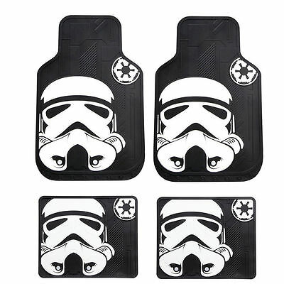 Star Wars Black & White Stormtrooper Car Front and Rear Rubber Floor Mats Set