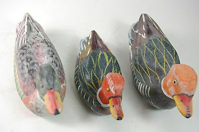 Hand Carved Wood Duck Decoy Set of 3 Ducks Hand Painted Small