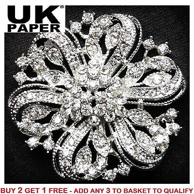 New Silver Brooch Pin Large Crystal Wedding Bridal Sterling Bouquet Bride Ladies