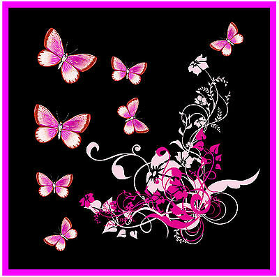 Pink/black Butterfly & Flowers - Set Of 4 Coasters - Gift / Present - Brand New