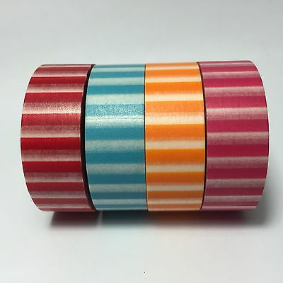 Washi Tape Wide Stripes 15Mm X 10Mtr Scrap Planner Craft Wrap Mail Art