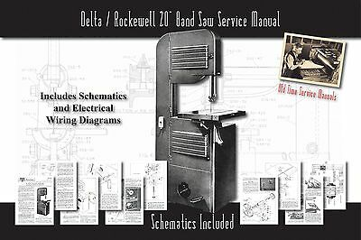 "Delta/Rockwell 20"" Band Saw Owners Service Manual Parts Lists Schematics etc."